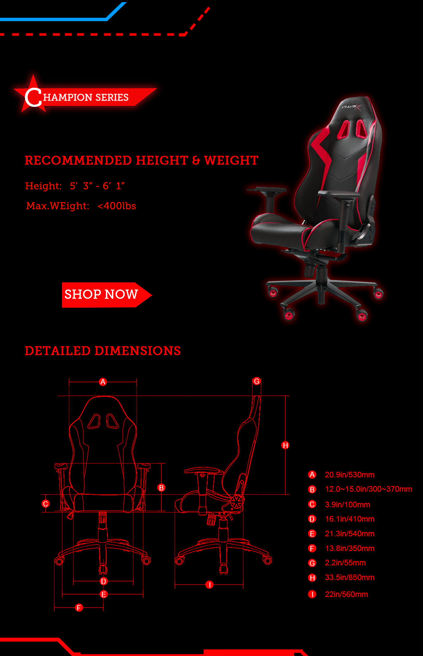 Dimensions of E-WIN Champion Series Gaming Chairs